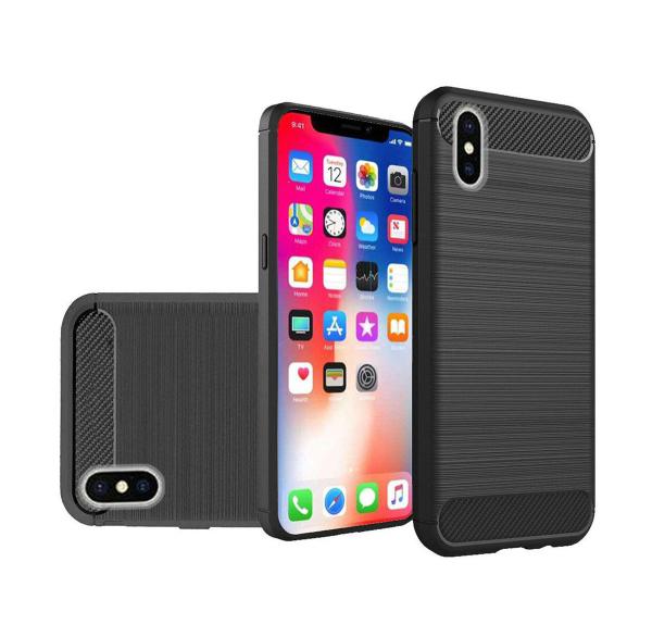POWERTECH Θήκη Carbon Flex για iPhone XS Max, μαύρη - POWERTECH 22214