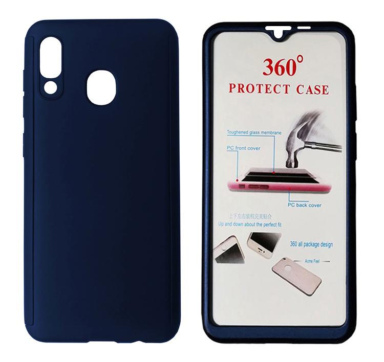 POWERTECH Θήκη Body 360° με Tempered Glass για Samsung A20e, μπλε - POWERTECH 27667