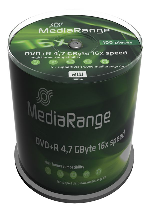 MEDIA RANGE DVD+R, 4.7GB, 16x, 100τμχ Cake box - MEDIARANGE 2567