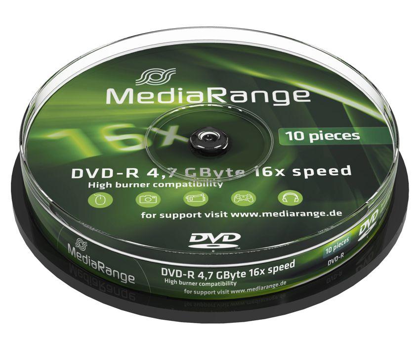 MEDIARANGE DVD-R, 4.7GB, 16x, 10τμχ Cake box - MEDIARANGE 2571