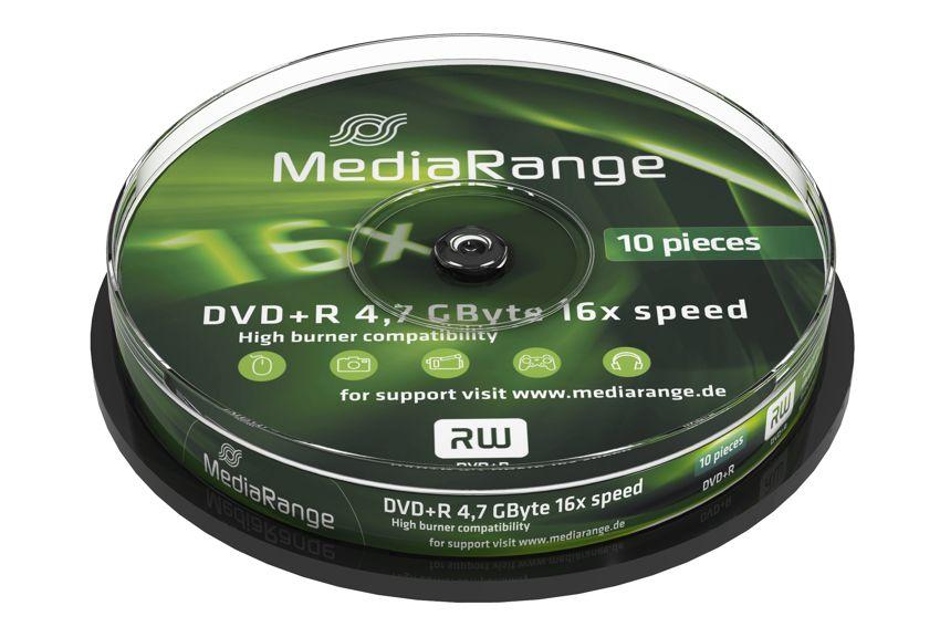 MEDIA RANGE DVD+R, 4.7GB, 16x, 10τμχ Cake box - MEDIARANGE 5336