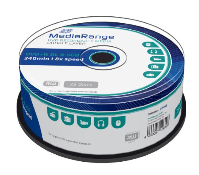 MEDIARANGE DVD+R Double Layer, 8.5GB/240min, 8x speed, Cake 25 - MEDIARANGE 13561