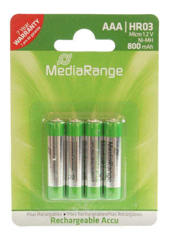 MEDIARANGE Επαναφορτιζόμενη μπαταρία AAA LR03, 800mAh, 4τμχ - MEDIARANGE 2207