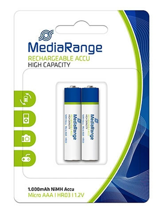 MEDIARANGE επαναφορτιζόμενη μπαταρία Micro AAA(HR03), 1000mAh, 2 τμχ - MEDIARANGE 13563