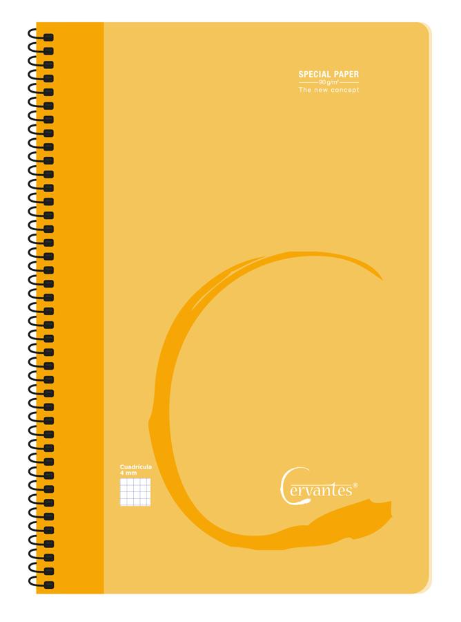 CERVANTES τετράδιο σπιράλ με καρέ PB045, 21.5x31cm, 80 φύλλα, πορτοκαλί - CERVANTES 42406