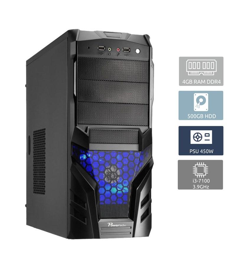 POWERTECH PC, i3-7100, 4GB RAM, 500GB HDD, DVD-RW - POWERTECH 17148