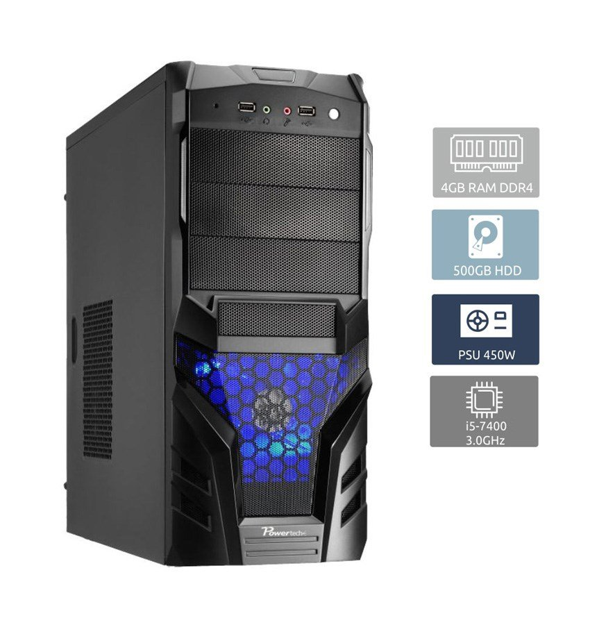 POWERTECH Έτοιμο PC, i5-7400, 4GB RAM, 500GB HDD, DVD-RW - POWERTECH 17147