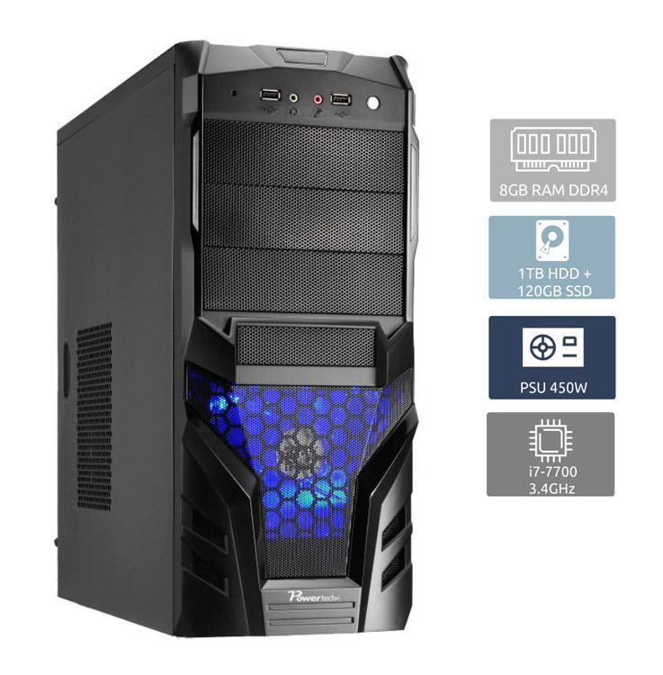 POWERTECH Έτοιμο PC, i7-7700, 8GB RAM, 1TB HDD + 120GB SSD, DVD-RW - POWERTECH 13733