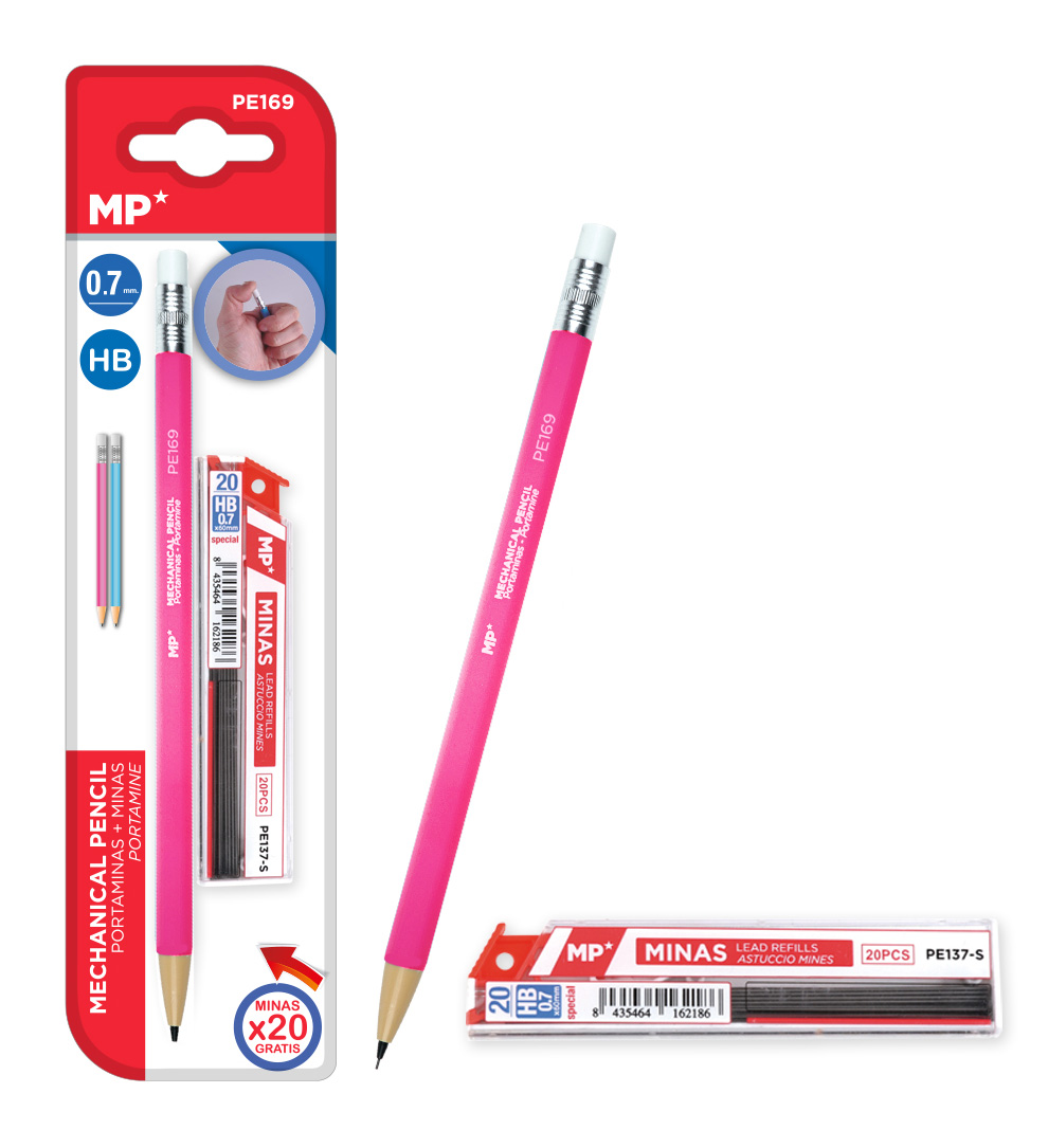 MP Mηχανικό μολύβι PE169 με γόμα, HB, 20x ανταλλακτικά, 0.7mm, ροζ - MP 29080
