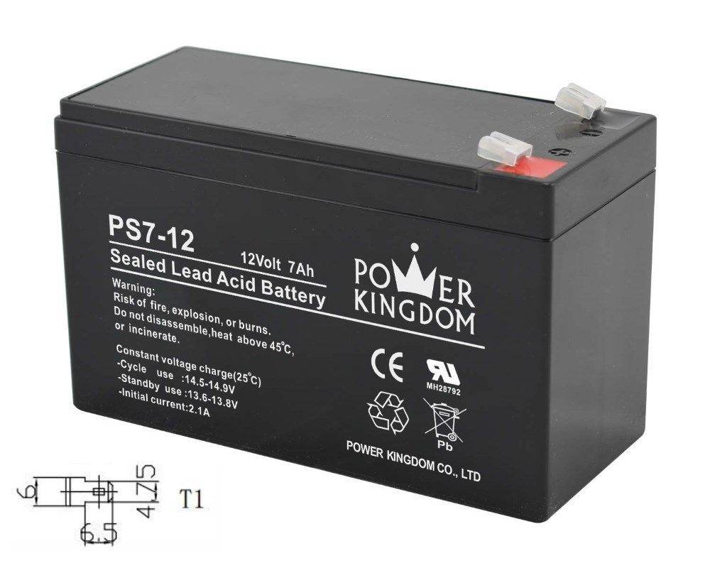 POWER KINGDOM Μπαταρία Μολύβδου 12Volt 7Ah, T1 - POWER KINGDOM 23060
