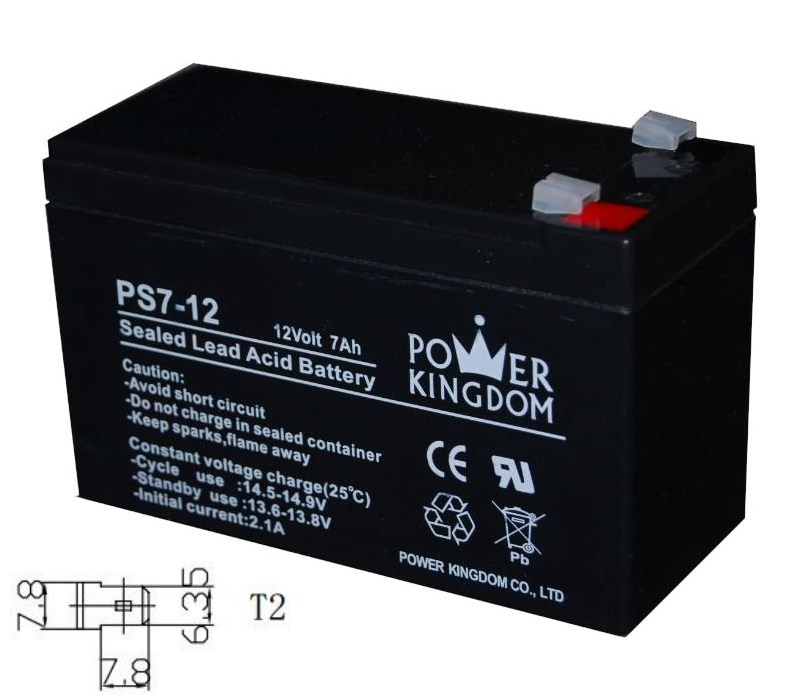 POWER KINGDOM Μπαταρία Μολύβδου 12Volt 7Ah, T2 - POWER KINGDOM 1663