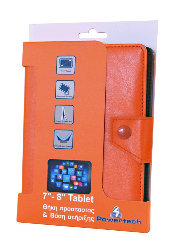 POWERTECH Universal θήκη και βάση για Tablet 7-8 inch, Orange - POWERTECH 4590