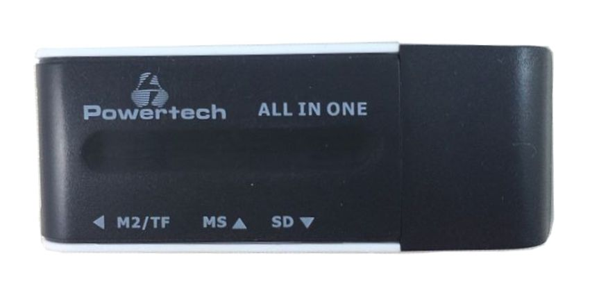 POWERTECH Mini Card Reader, Black - POWERTECH 5034