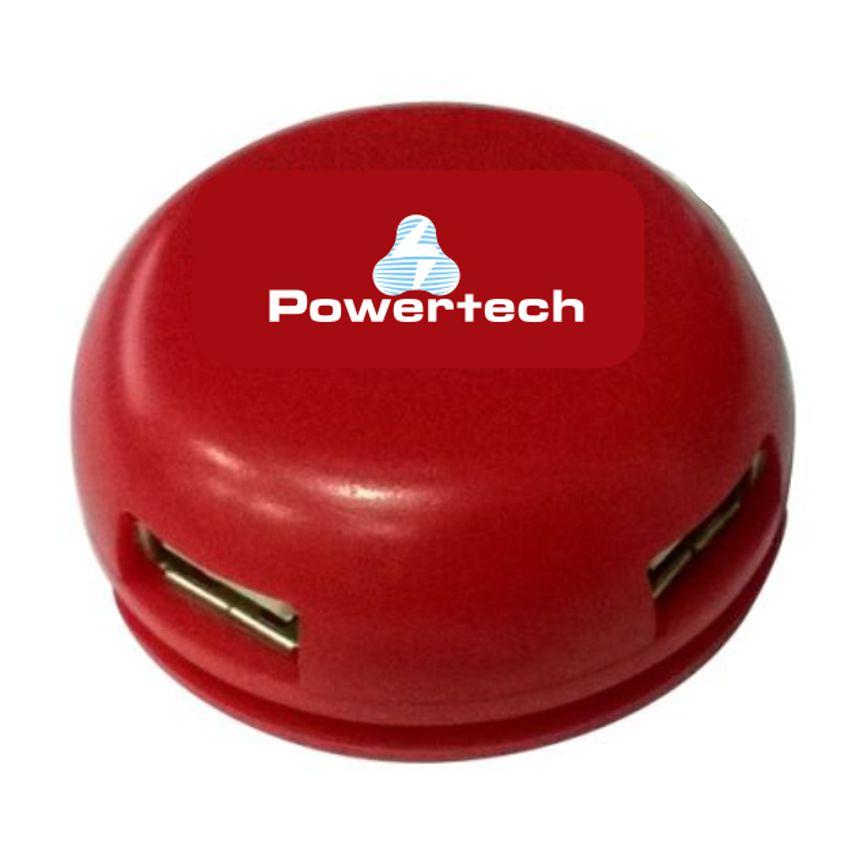 POWERTECH USB 2.0V Hub, 4 Port, Red - POWERTECH 5028