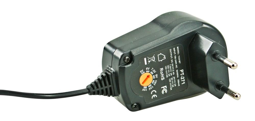 POWERTECH Ρυθμιζόμενο Τροφοδοτικό Ρεύματος, 2.4A, χωρίς αντάπτορα - POWERTECH 8454