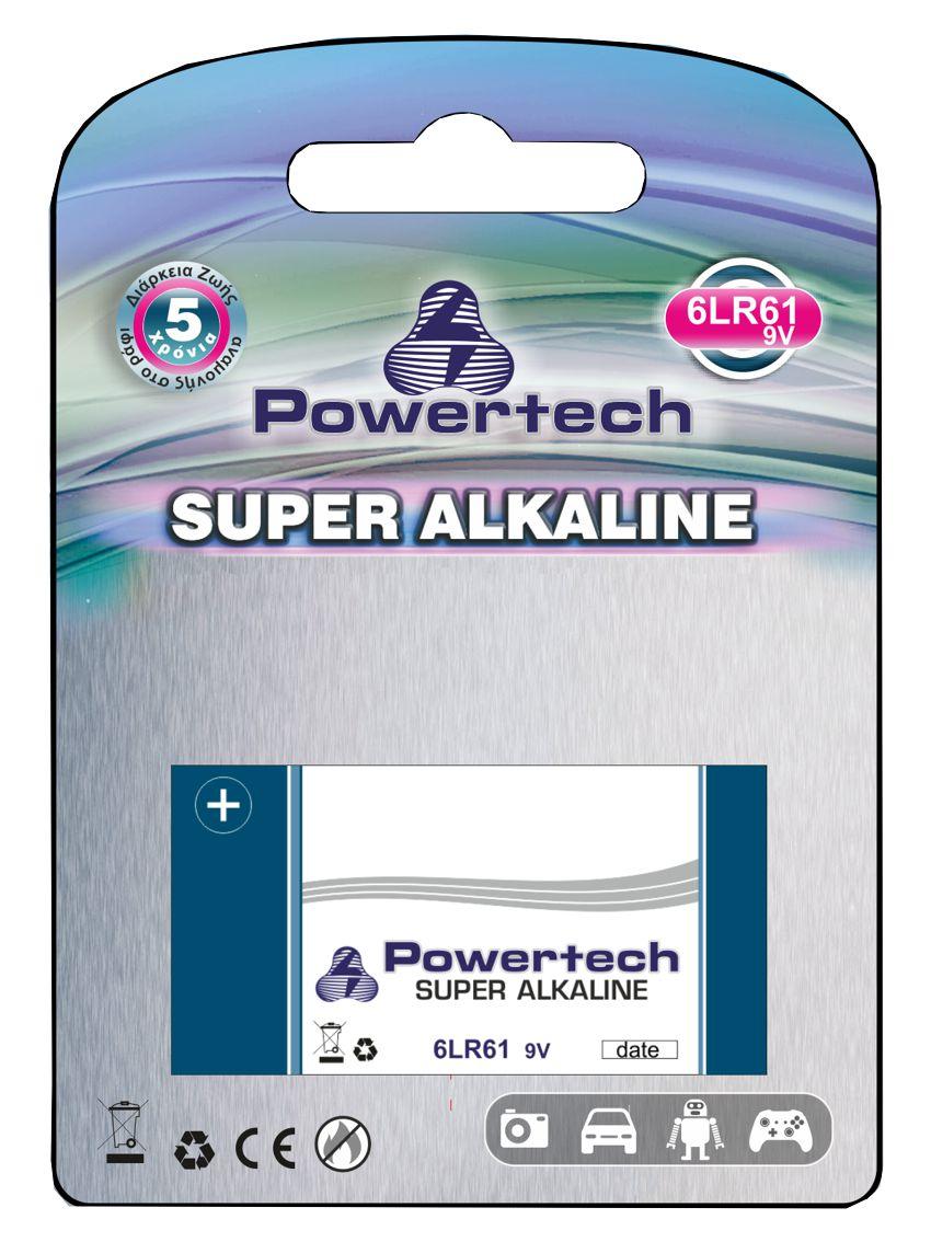 POWERTECH SUPER Αλκαλική μπαταρία 6LR61 (9V) - 1PACK - POWERTECH 10396