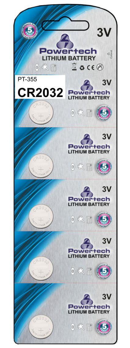 POWERTECH Μπαταρία λιθίου CR2032, 3V, 5τμχ - POWERTECH 10400
