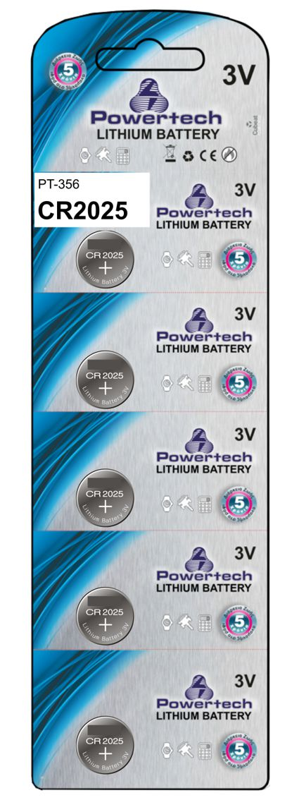POWERTECH Μπαταρία λιθίου 3v, CR2025 - 5ΤΕΜ - POWERTECH 10397