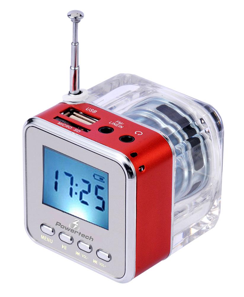 POWERTECH Speaker, Portable, FM Radio, 3W, Led Screen, Red - POWERTECH 12063