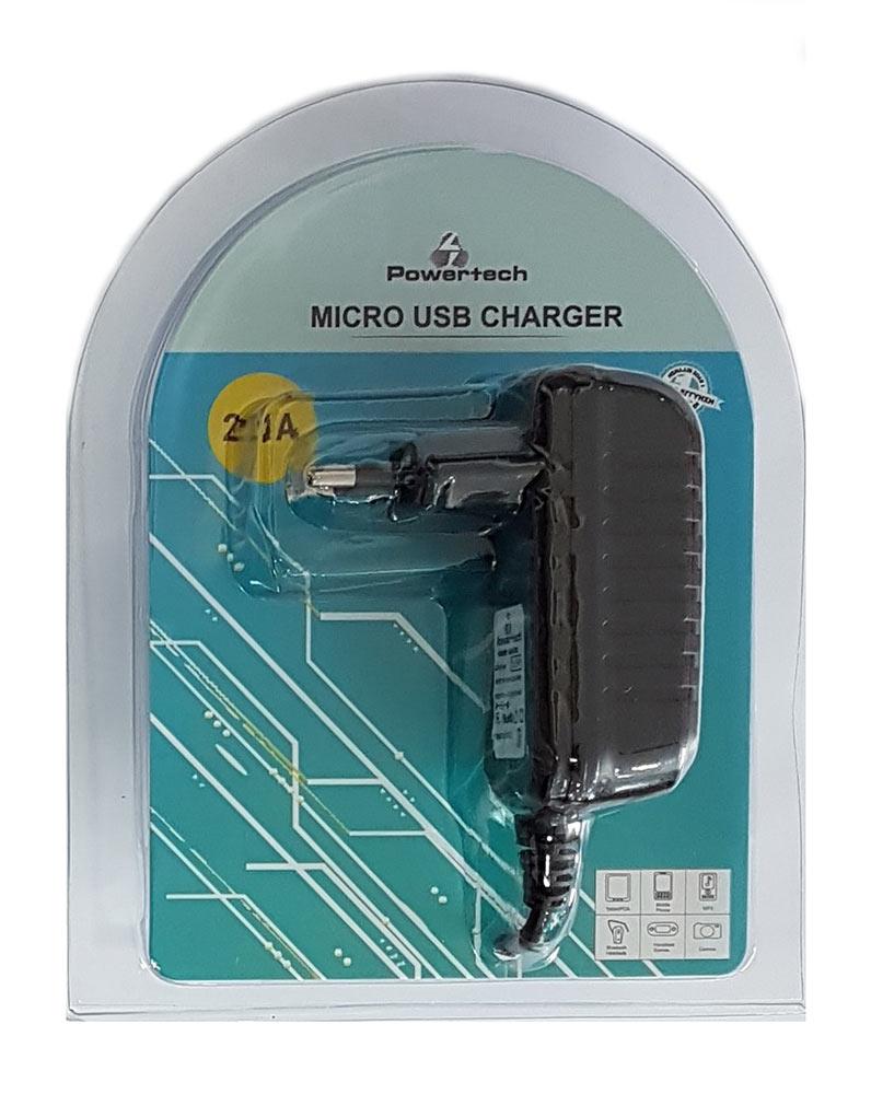 POWERTECH Φορτιστής με καλώδιο Micro USB 2.1Α - POWERTECH 12081