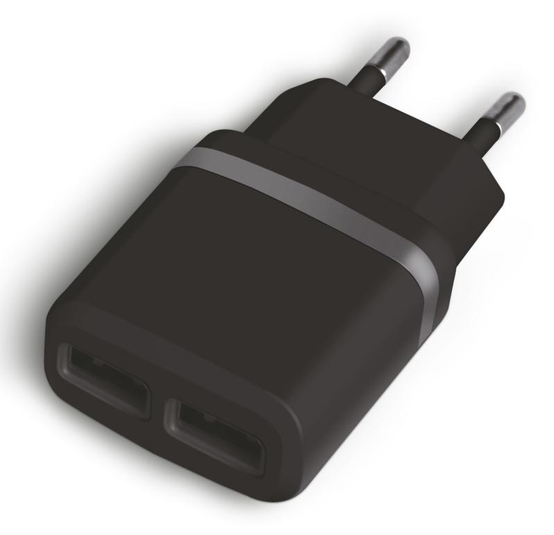 POWERTECH Φορτιστής Τοίχου PT-416, 2x USB, 2.1A, Black - POWERTECH 14580