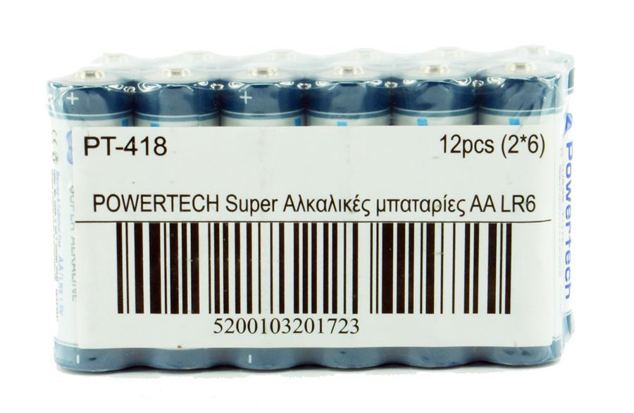 POWERTECH Super Αλκαλικές μπαταρίες PT-418 AA LR6, 5 έτη εγγύηση, 12τμχ - POWERTECH 14668