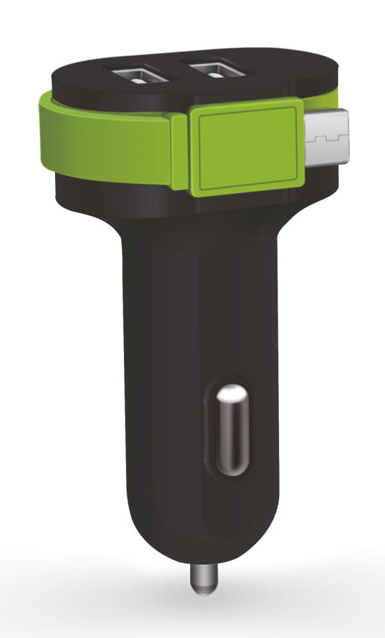 POWERTECH Φορτιστής Αυτοκινήτου PT-420, 2x USB + 1x καλώδιο, 6A, Black - POWERTECH 14584