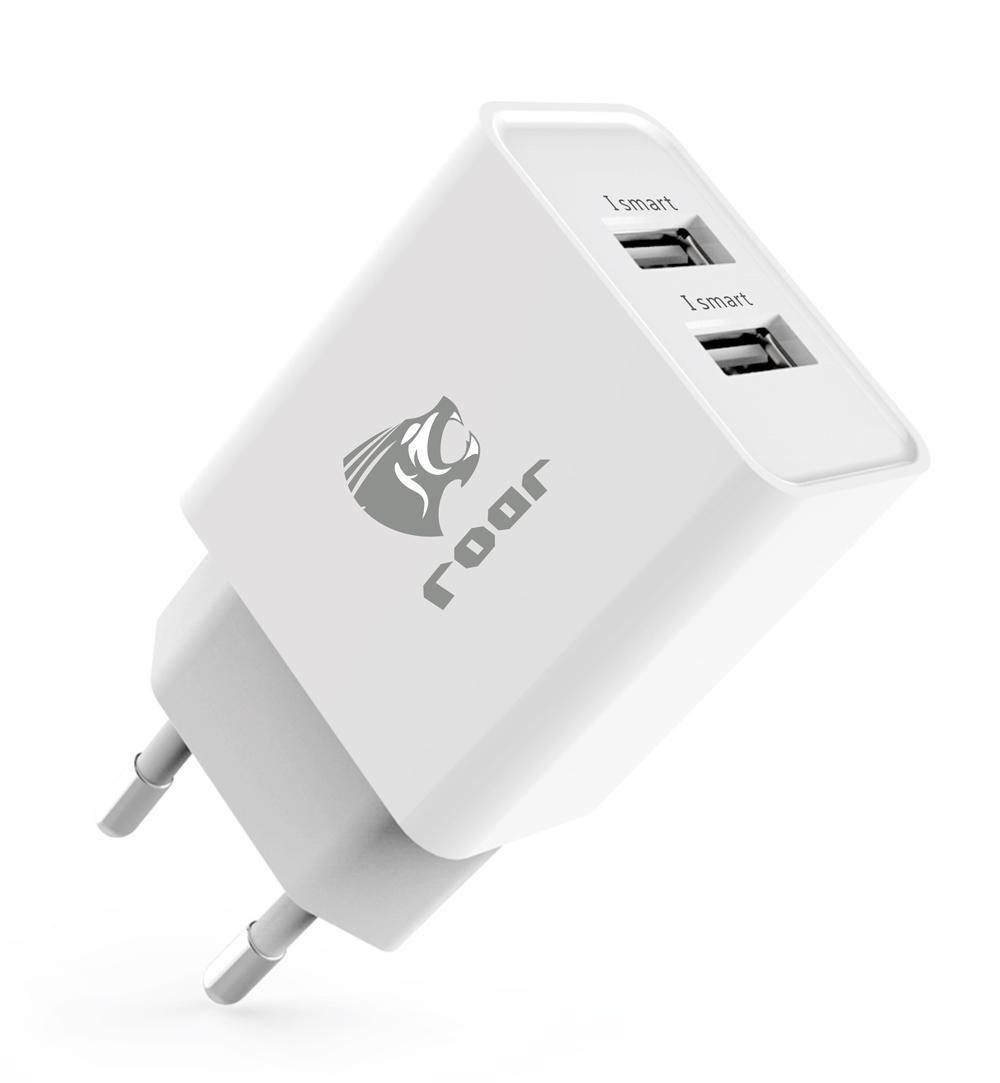 ROAR Φορτιστής PT-498, 2x USB, 2.4A, White - ROAR 15495