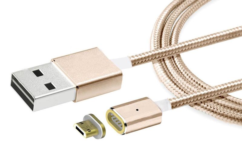 POWERTECH Καλώδιο USB 2.0 σε USB Micro & Type-C, Μαγνητικό, 1m, Gold - POWERTECH 16836