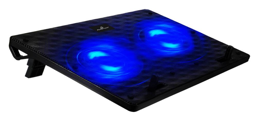 """POWERTECH Βάση & ψύξη laptop PT-739 έως 17"""", 2x 120mm fan, LED, μαύρο - POWERTECH 23714"""