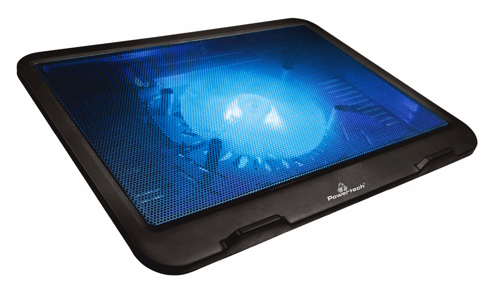"""POWERTECH Βάση & ψύξη laptop PT-740 έως 15.6"""", 125mm fan, LED, μαύρο - POWERTECH 23715"""