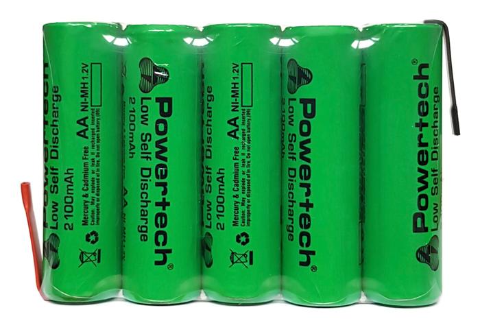 POWERTECH επαναφορτιζόμενη μπαταρία PT-795 2100mAh, AΑ (HR6), 5τμχ - POWERTECH 30172