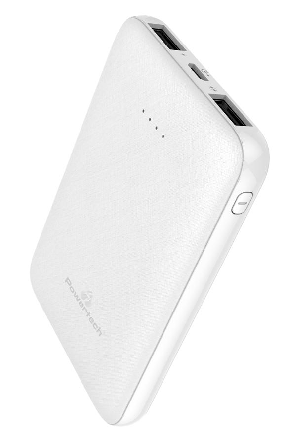 POWERTECH Power Bank PT-800 5000mAh, 2x USB Output, 2.1A, λευκό - POWERTECH 30412