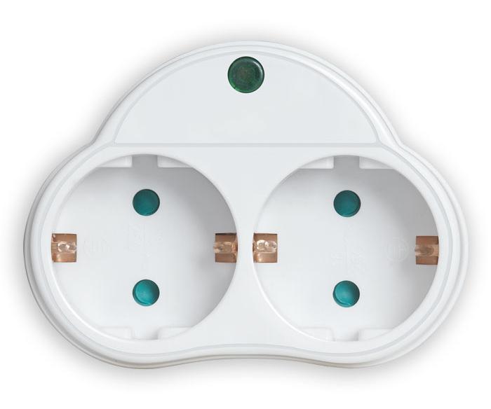 POWERTECH αντάπτορας ρεύματος PT-818, 2x schuko, 250V 16A, λευκός - POWERTECH 31749