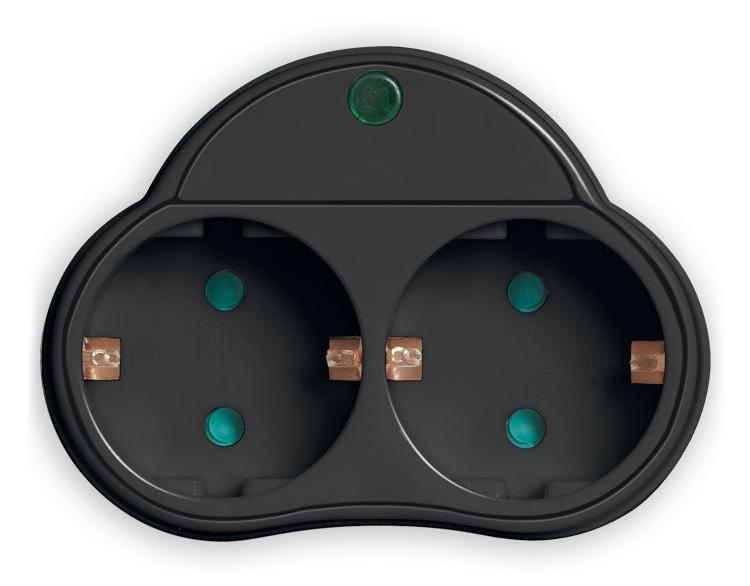 POWERTECH αντάπτορας ρεύματος PT-819, 2x schuko, 250V 16A, μαύρος - POWERTECH 31750