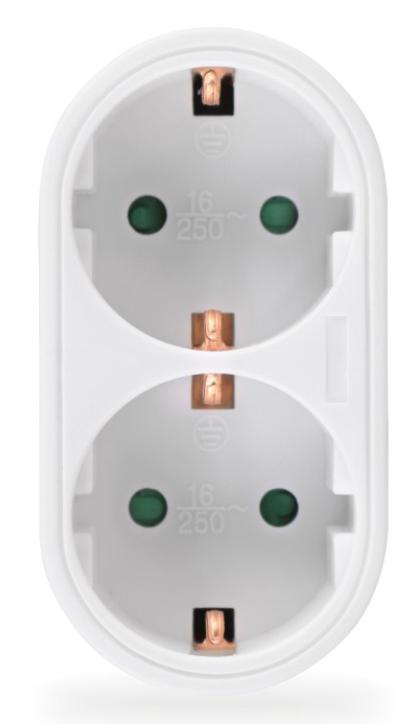 POWERTECH αντάπτορας ρεύματος PT-820, 2x schuko, 250V 16A, λευκός - POWERTECH 31751