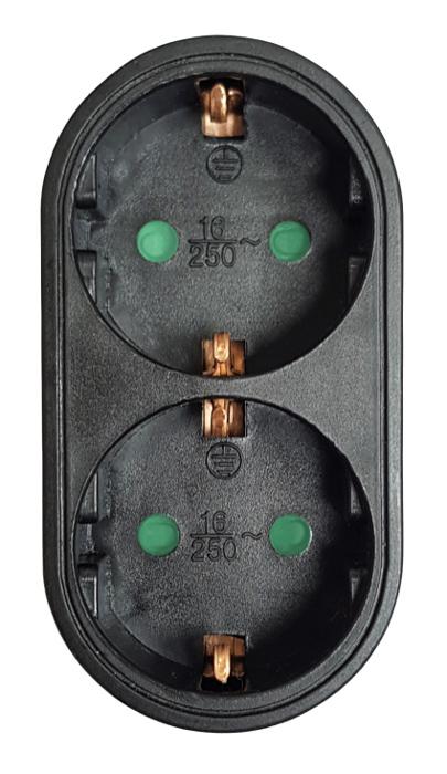 POWERTECH αντάπτορας ρεύματος PT-821, 2x schuko, 250V 16A, μαύρος - POWERTECH 31752
