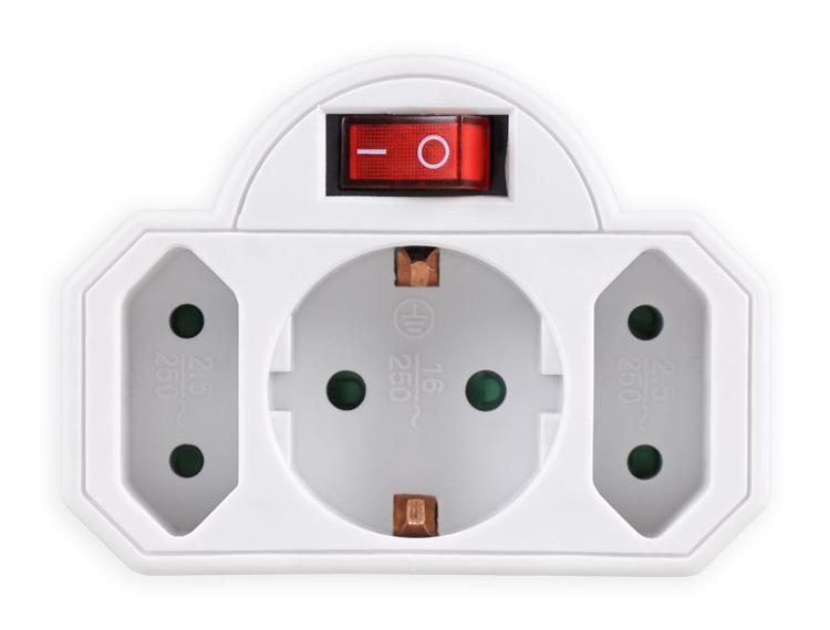 POWERTECH αντάπτορας ρεύματος PT-826, 1x schuko, 2x euro, 16A, λευκός - POWERTECH 31757