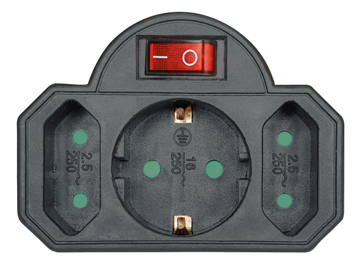 POWERTECH αντάπτορας ρεύματος PT-827, 1x schuko, 2x euro, 16A, μαύρος - POWERTECH 31758