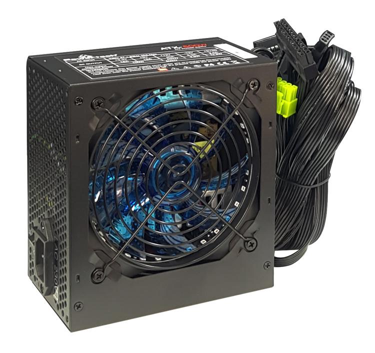 POWERTECH τροφοδοτικό για PC PT-864, μπλε LED fan, 500W - POWERTECH 34919