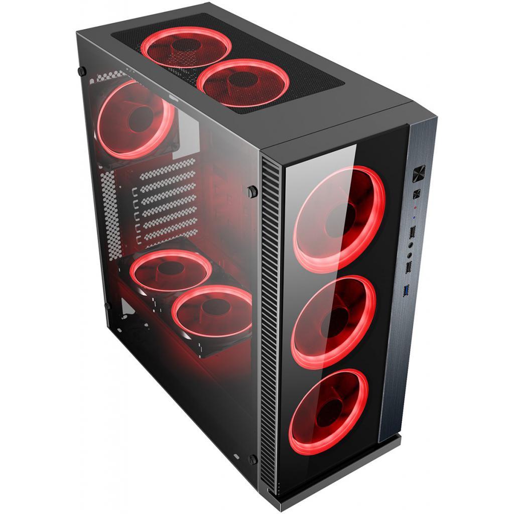 POWERTECH Gaming case PT-903, tempered glass, 4x Dual ring RGB fans - POWERTECH 22576