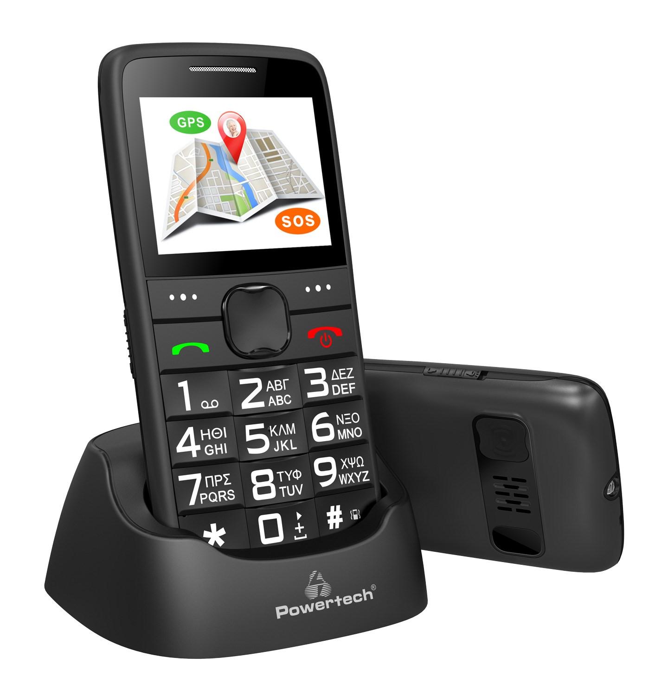 POWERTECH Κινητό Τηλέφωνο Sentry GPS, SOS Call, Dual Sim, με φακό, μαύρο - POWERTECH 22092