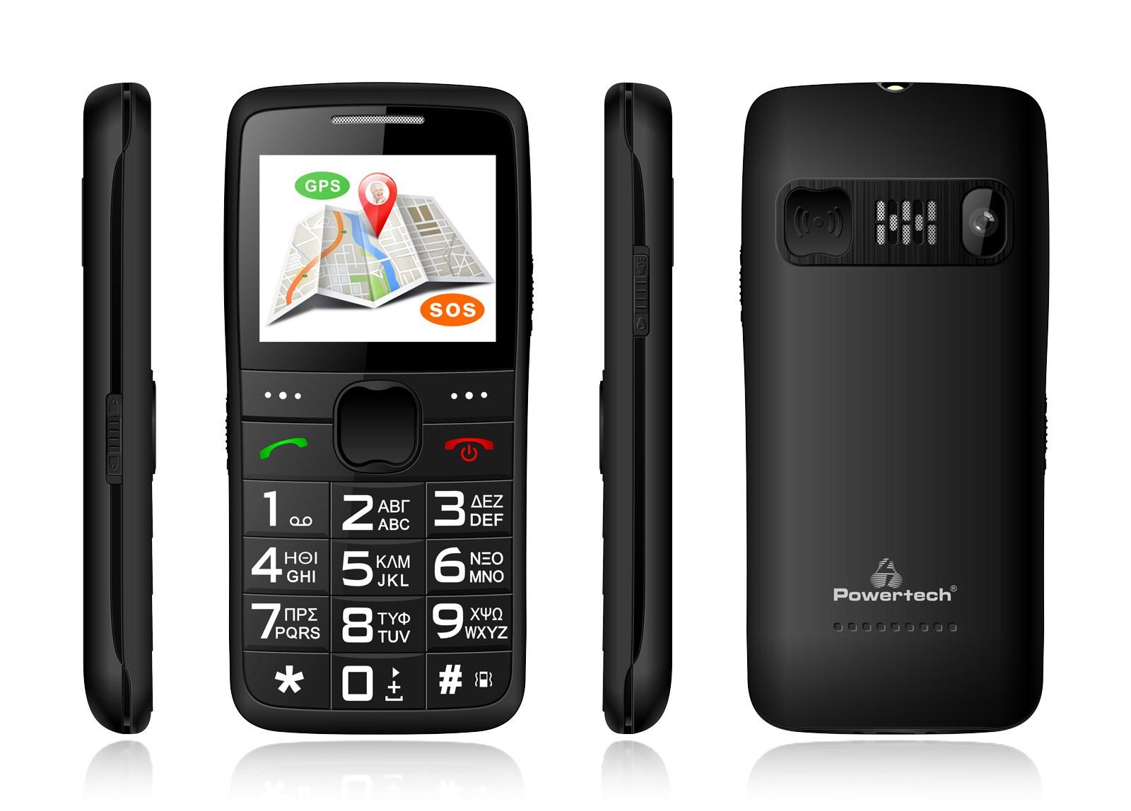 POWERTECH Κινητό Τηλέφωνο Sentry GPS PTM-12, SOS Call, με φακό, μαύρο - POWERTECH 22092