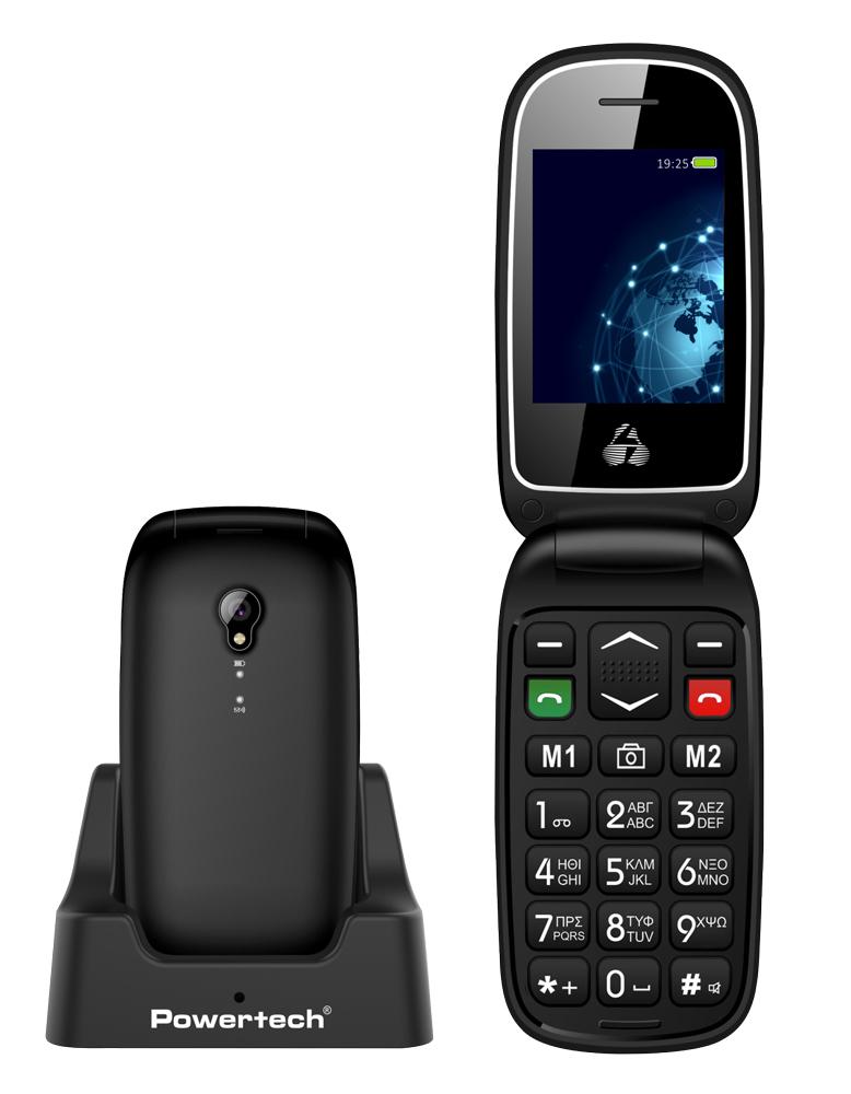 POWERTECH Κινητό Τηλέφωνο Sentry Global PTM-19, SOS Call, φακός, μαύρο - POWERTECH 33121