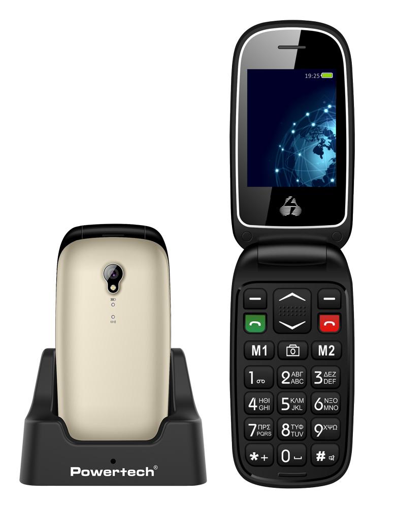 POWERTECH Κινητό Τηλέφωνο Sentry Global PTM-20, SOS Call, φακός, χρυσό - POWERTECH 33122