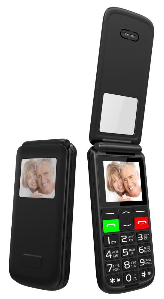 "POWERTECH κινητό τηλέφωνο Sentry Flip Small, 1.77"", SOS Call, μαύρο - POWERTECH 37340"