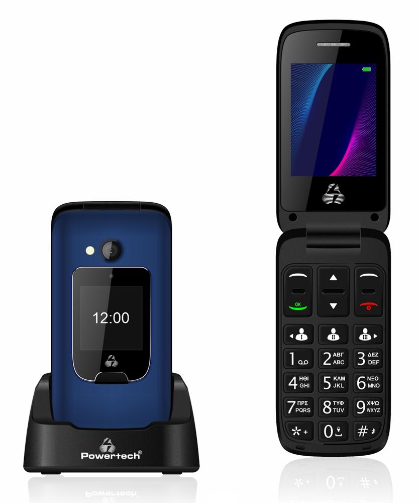 POWERTECH κινητό τηλέφωνο Sentry Dual III, 2 οθόνες, SOS Call, μπλε - POWERTECH 42073