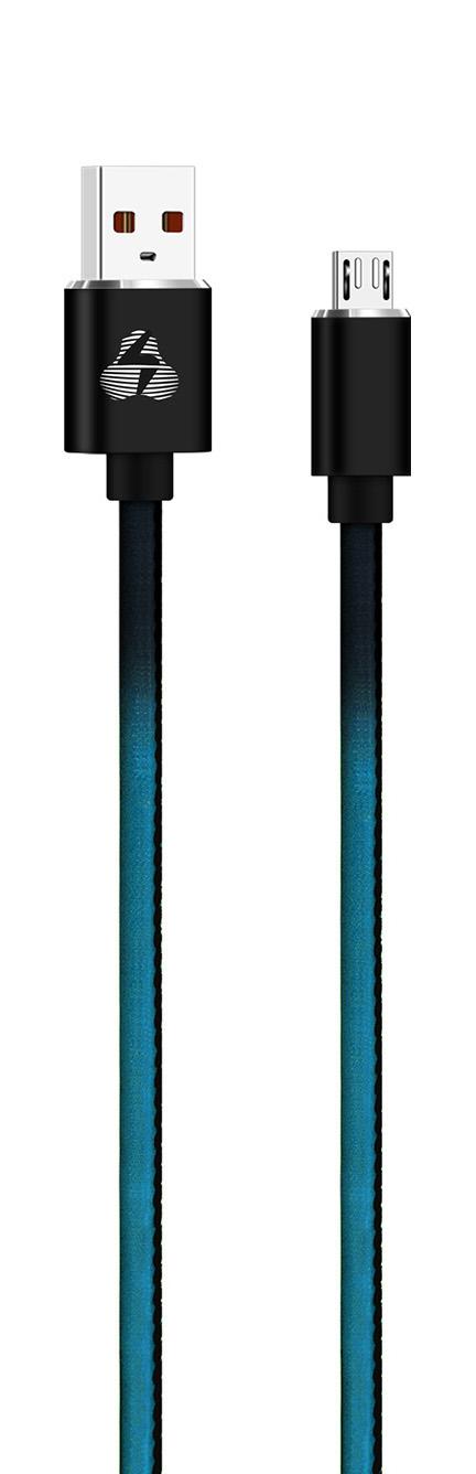 POWERTECH Καλώδιο USB σε Micro USB leather PTR-0028, 1m, μαύρο/μπλέ - POWERTECH 23113