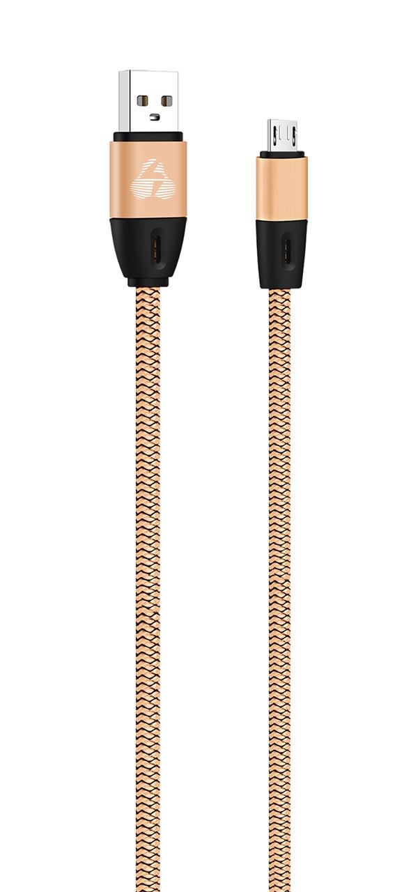 POWERTECH Καλώδιο USB σε Micro USB eco flat PTR-0033 copper, 1m, χρυσό - POWERTECH 23105