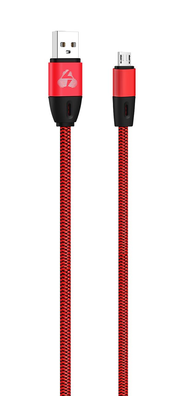 POWERTECH Καλώδιο USB σε Micro USB eco flat PTR-0034 copper 1m, κόκκινο - POWERTECH 23104